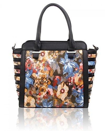 Large Black Leather Bags CW160477 Handbags Women's LeahWard® Shoulder Belt Tote Floral Faux Style Celeb SddOqwB