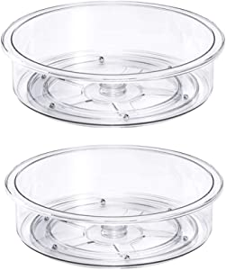 Lazy Susan Cabinet Organizer, Clear Turntable Food Storage Container for Kitchen Spice Pantry Fridge Cupboard Organizing-9.8