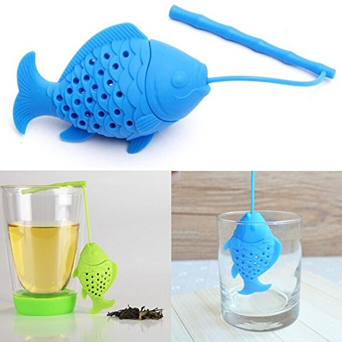 Hall Coffee Pot (gangnumsky-Unique Cute Tea Strainer, Interesting Life Partner Cute Blue Fish Mr Teapot Silicone Tea Infuser Filter Teapot for Tea & Coffee)