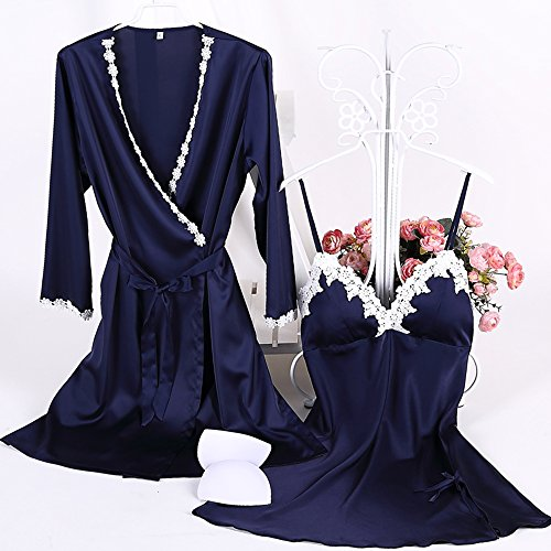 Aibrou La Les Foncé A Pour Détente Sangle Élégante Chambre 2 Vêtements De Longue Bleu Satin Soir Pièces Femmes Du Robe Kimono Nuit Avec rSx6Uqrf