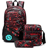 School Backpacks for Boys, Teens Girls Unisex School Bookbag Set 3 Pieces fit 15 inch Laptop Shoulder bag Travel Daypack (Red 1)