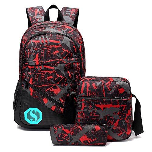 School Backpacks for Boys, Teens Girls Unisex School Bookbag Set 3 Pieces fit 15 inch Laptop Shoulder bag Travel Daypack (Red 1) ()