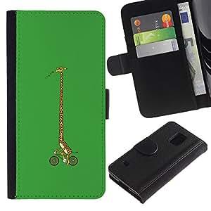 """A-type (Girrafe bicicletas"""") Colorida Impresión Funda Cuero Monedero Caja Bolsa Cubierta Caja Piel Card Slots Para Samsung Galaxy S5 V SM-G900"""