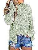 MEROKEETY Women's Long Sleeve Soft Popcorn Knit Sweater Side Slit Pullover Outwears,Mint,Small