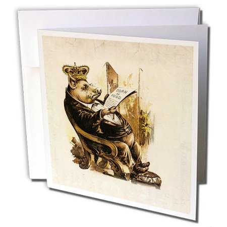 3dRose Florene Humor - Victorian Pig n His Corn - 1 Greeting Card with envelope (gc_61977_5)