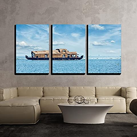 wall26 - 3 Piece Canvas Wall Art - Tourist Houseboat in Vembanadu Lake, Kerala, India - Modern Home Decor Stretched and Framed Ready to Hang - 16