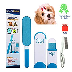 Premium Pet Fur and Lint Remover with Self-Cleaning Base As Seen On TV - Double-Sided Brush Removes Dog and Cat Hair from Furniture and Clothes, Blue