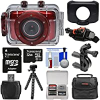 Vivitar DVR781HD HD Waterproof Action Video Camera Camcorder (Red) with 32GB Card + Helmet & Bike Mounts + Case + Tripod Kit