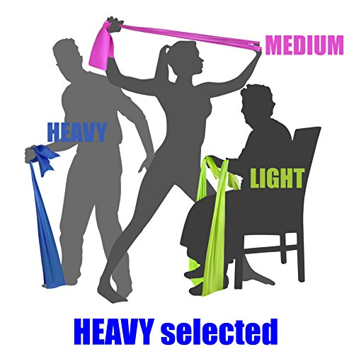 HEAVY TENSION EXERCISE RESISTANCE BANDS - Home Gym Fitness Equipment. Ideal for Physical Therapy, Strength Workout, Theraband, Pilates, Beachbody, Yoga, Mat, Rehab, Seated   LATEX-FREE   6.5ft