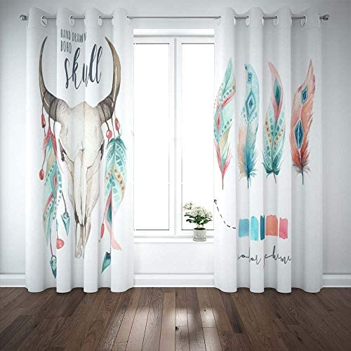 Pamime Blackout Window Curtain 52X63 Inch,Watercolor Bohemian Cow Skull Feather Western Mammals Boho Hipster Deer Boho Decoration Door Window Curtains 2 Panel