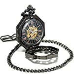 SEWOR Octagon Skeleton Pocket Watch with Chain, Halloween Style Steampunk Mechanical Hand Wind 9
