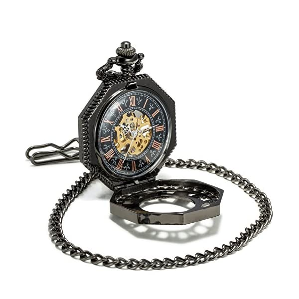 SEWOR Octagon Skeleton Pocket Watch with Chain, Halloween Style Steampunk Mechanical Hand Wind 5
