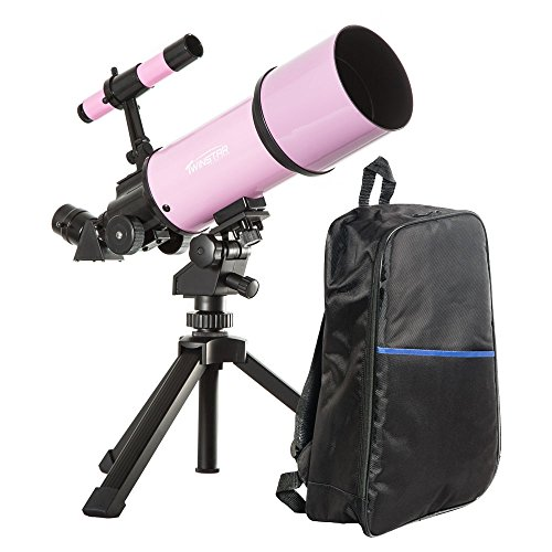 Pink TwinStar AstroMark 80mm 16-40x Power Portable Refractor Telescope – Backpack Bundle
