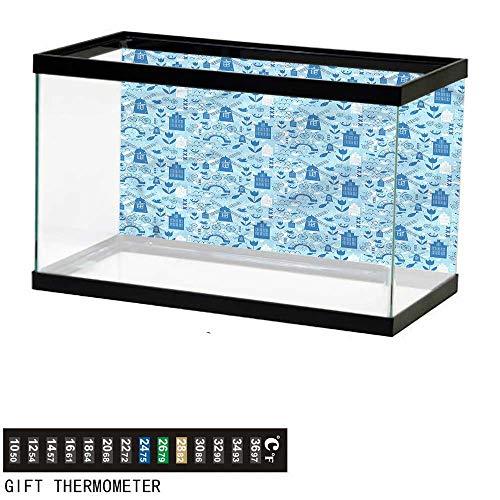 bybyhome Fish Tank Backdrop Dutch,Cartoon Windmills Design,Aquarium Background,48