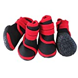 abcGoodefg® 4pcs Pet Dog Waterproof Nonslip Sport Shoes Sneaker Boots Rubber Sole for Medium/Big Dogs (XS, Red)