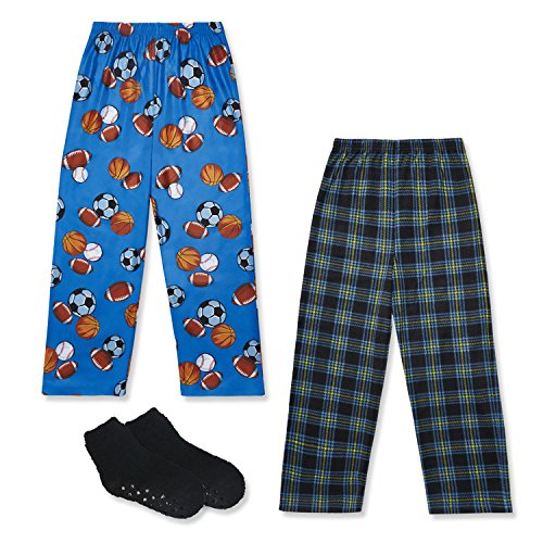 Mad Dog Boy's 2-Pack Pajama Pants + Slipper Socks (Sizes 4-16) (Sports / Plaid, Medium (6-8)) Boys Pajama Bottoms