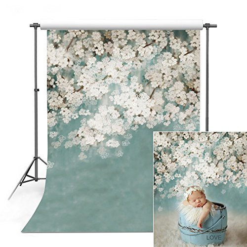 COMOPHOTO Newborn Photography Backdrop 5x7ft Polyester Baby White Flower Photo Backdrops for Studio Pictures Props