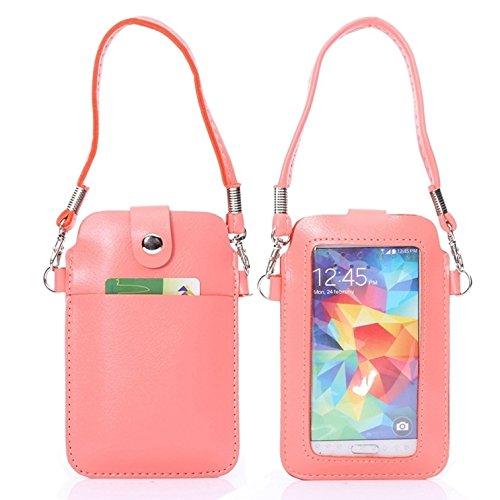 Mobile protection Funda de cuero universal del bolso de la caja del teléfono móvil con el tacto de la pantalla completa para el iPhone 6 y 5 / Samsung S7 / S6 / S5 / G900 / i9500 / i9300 / i9250 / i87 Pink