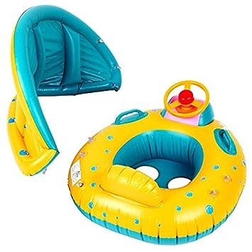 maikerry flotadores de piscina inflable bebé flotador agua juguetes con toldo parasol piscina Barco flotante anillo: Amazon.es: Deportes y aire libre
