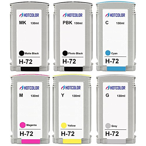 HOTCOLOR 72 Remanufactured Replacement for HP 72 DesignJet Ink Cartridge 1 C9370A Photo Black, 1 C9371A Cyan, 1 C9372A Magenta, 1 C9373A Yellow, 1 C9374A Gray, 1 C9403A Matte Black (130ml Photo Black Ink Cartridge)