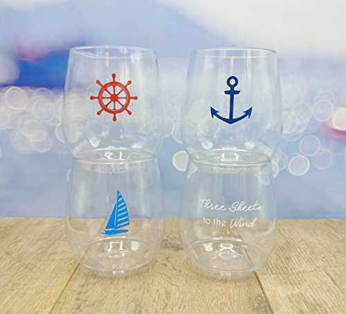 4-pack BPA Free Shatterproof Printed 14 Ounce Shatterproof Wine Glass CLOSEOUT (NAUTICAL)