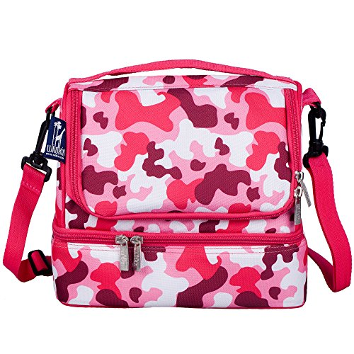 Wildkin Two Compartment Lunch Bag, Insulated, Moisture Resistant and Easy to Clean, Complete with a Microwave and Dishwasher-Safe Container, Ages 5+, Perfect for Kids & On-The-Go Parents, Pink (Pink Camo Lunch Box)