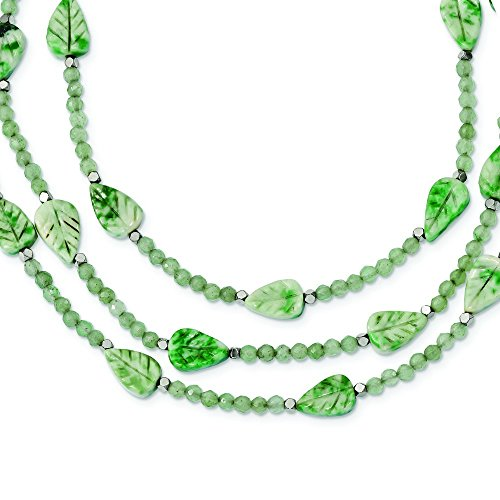 7.5mm Ster. Silver Hematite Green Quartz Tree Agate Leaves 3-strand W2inch Ext. Necklace - 18 Inch by JewelryWeb