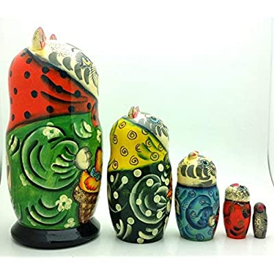 Cat Nesting Dolls Russian Hand Carved Hand Painted 5 Piece Matryoshka Set: Toys & Games