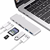 USB C Hub, 6 in 1 Thunderbolt 3 Type C Adapter Dongle Compatible with MacBook Pro 2017/2016 13'' 15'', USB C 5Gbps Data Transfer, MicroSD/SD Card Reader, 2 x USB3.0 Ports Plug and Play (Silver)