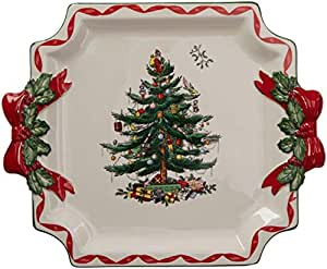 Spode Christmas Tree Christmas Tree Ribbons Square Platter 11-inches Multicolor