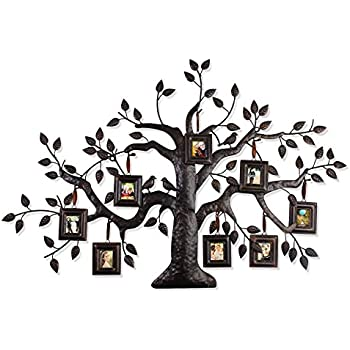 Asense Family Tree with 8-opening Collage Picture Frame 2x 2.5 inch Metal Frame Wall Hanging, Black