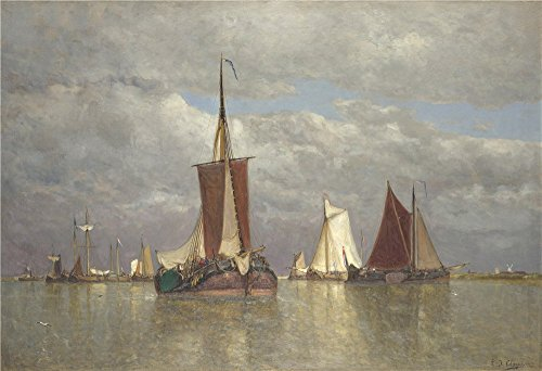 High Quality Polyster Canvas ,the Reproductions Art Decorative Canvas Prints Of Oil Painting 'Paul Jean Clays Ships Lying Near Dordrecht ', 20 X 29 Inch / 51 X 74 Cm Is Best For Garage Decoration And Home Artwork And Gifts]()