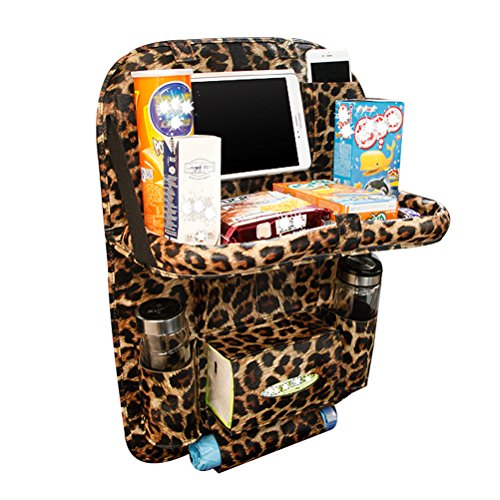 HOOPEN Car Back Seat Organizer with Tablet Holder and Folding Table Multi-Pocket Travel Storage for Bottles, Napkins, Phones and Journals Made of PU Leather (Leopard Print)