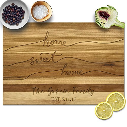 Froolu Fancy Home Sweet Home butchers block chopping board for Custom Names Housewarming Gifts by Froolu