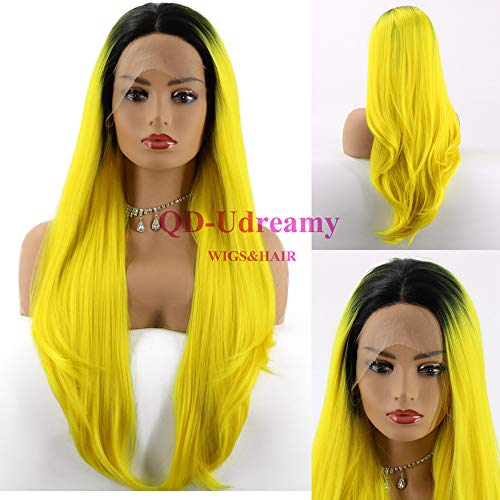 QD-Udreamy Fashion Synthetic Wigs High Density Natural Wavy Black Ombre Yellow Two Tones Hand Tied Heat Resistant Hair Wigs for Women 24 Inch