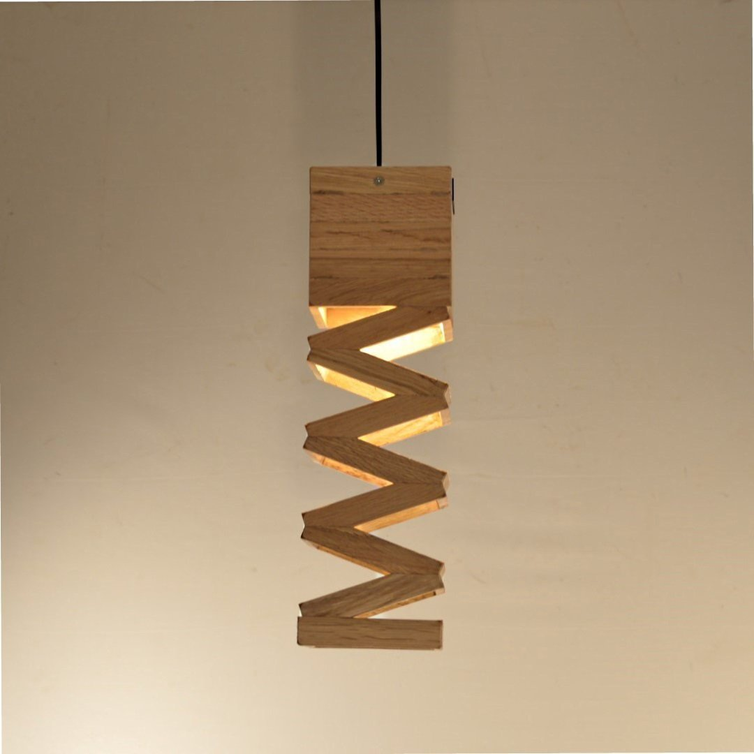 Lampe design suspension en bois de chêne recyclée 'Accordeon'