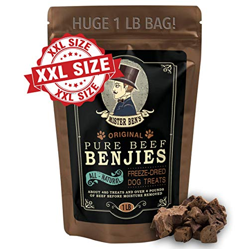 Mister Ben's Original Premium Pure Beef Benjies [XXL 1 Pound Bag] - Freeze Dried 100% Beef Dog Treats - Only 1 Ingredient - All Natural Luxury Beef Liver Snacks for Dogs - Approx 500 Treats