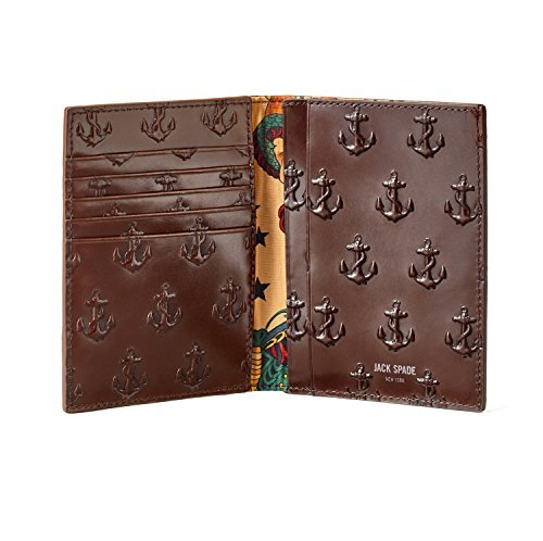 Jack Spade Chocolate Brown Embossed Anchor Passport Wallet