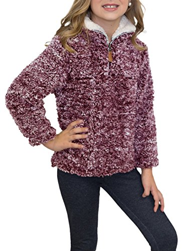 Pebble Fleece Zip Jacket (STKAT Girl's 1/4 Zip Long Sleeve Pebble Pile Casual Sherpa Fleece Pullover)