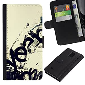 All Phone Most Case / Oferta Especial Cáscara Funda de cuero Monedero Cubierta de proteccion Caso / Wallet Case for Samsung Galaxy Note 4 IV // Modern Art Ecosystem Wave Destruction