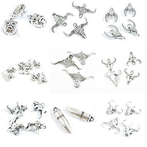 (31 Pieces Antique Silver Tone Jewelry Making Charms Buffalo Bull Head Bullet Pug Dog English Bulldog Cow Skull Puppy Schnauzer)