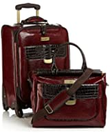 Samantha Brown First Class 2 Piece Luggage Set with Spinners ~ Burgundy Red