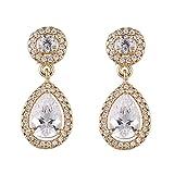 SUMMER LOVE Women's Teardrop Dangle Earrings Crystal Bridal Cubic Zirconia Wedding Prom Anniversary Earring