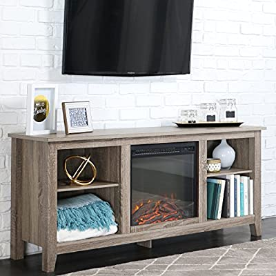 New 58 Inch Wide Ash Grey TV Stand with Fireplace Insert
