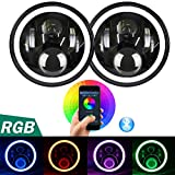 "Aukmak 7 inch LED Headlights RGB Halo Ring Angel Eyes 7"" Round Multicolor DRL Bluetooth Remote Control for Jeep Wrangler JK LJ CJ 1997 ~ 2016 (pack of 2)"