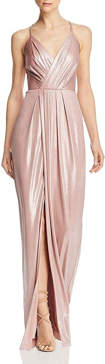Laundry by Shelli Segal Womens Shimmer Surplice Evening Dress
