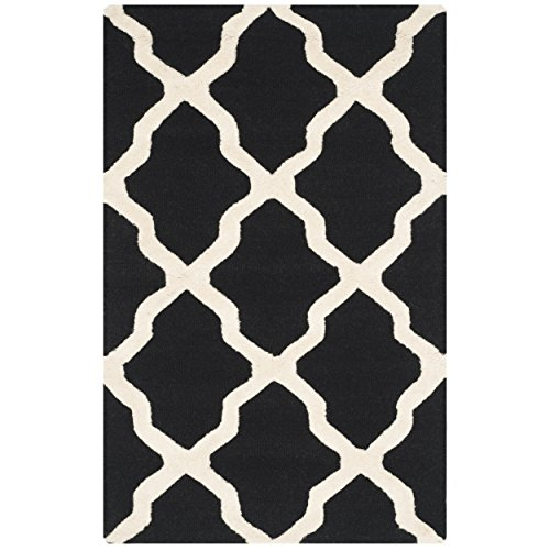 Safavieh Cambridge Collection CAM121E Handcrafted Moroccan Geometric Black and Ivory Premium Wool Area Rug (2'6