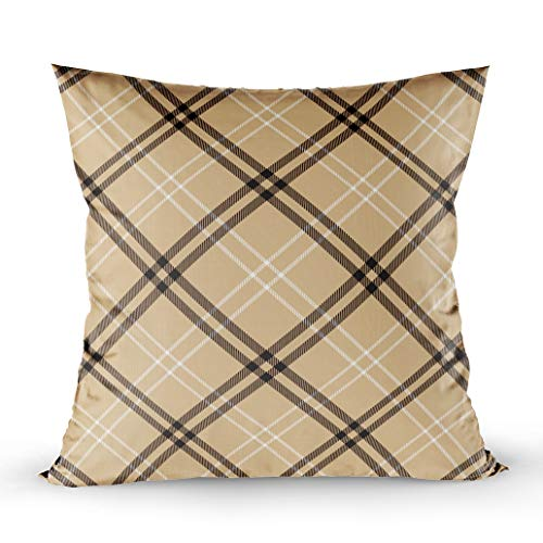 ROOLAYS Outdoor Pillows Case, Square Throw Pillowcase Covers 18X18Inch, Tartan Pattern Background Camel Black White Plaid Flannel Shirt Patterns Trendy Tiles Both Sides Farmhouse Decor Cushion