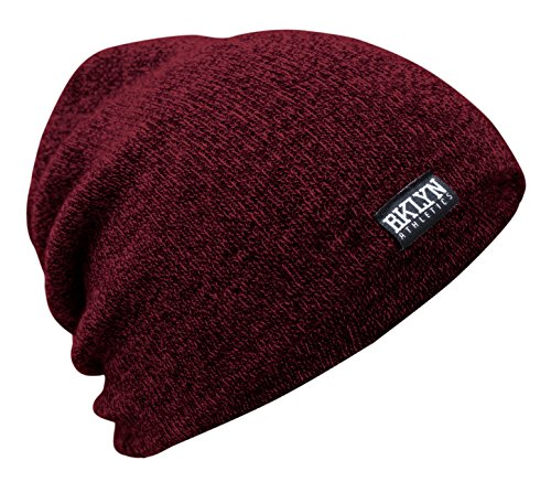 (Brooklyn Athletics Adult's Knit Marl Cuffed Slouchy Beanie Hat Cap Unisex, Burgundy, One Size)