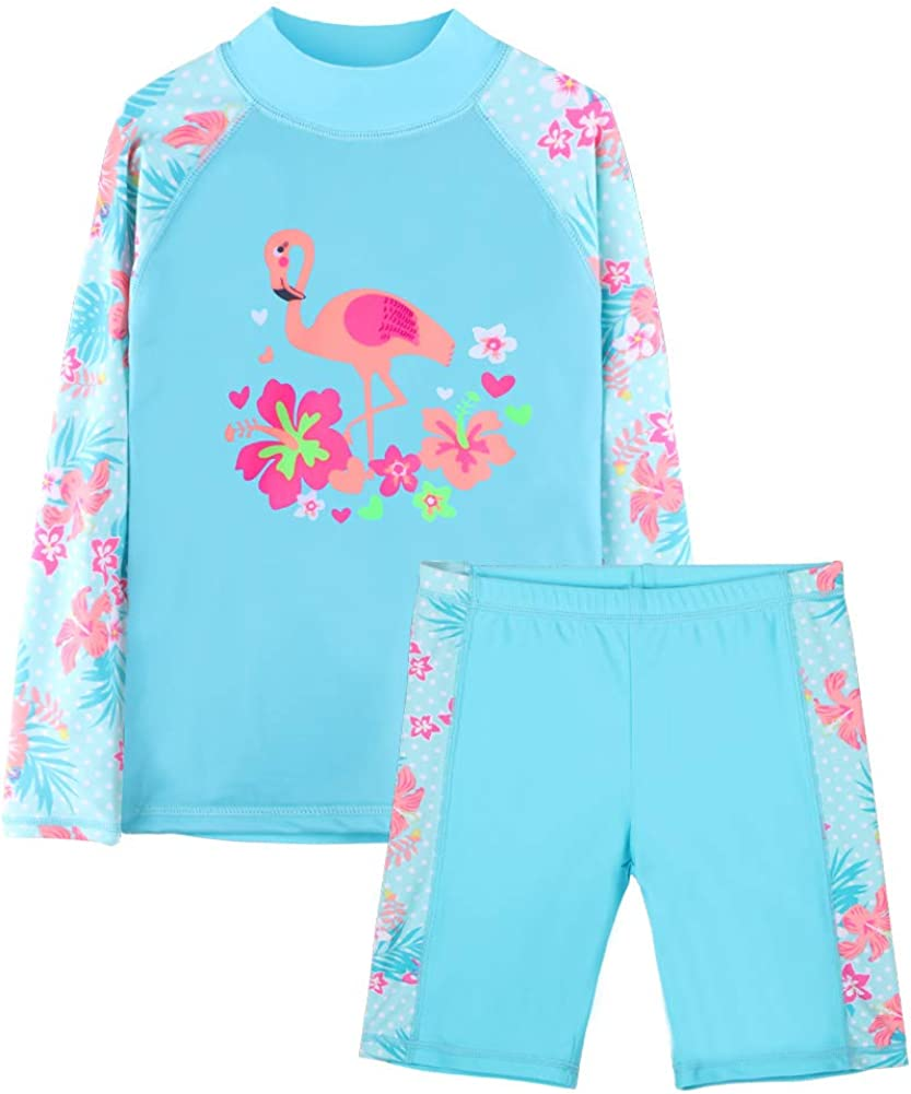 Girls Two Piece Rash Guard Swimsuits Kids Long Sleeve Sunsuit Swimwear Sets